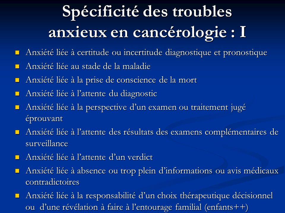 Spécificité des troubles anxieux en cancérologie : I Anxiété liée à certitude ou incertitude diagnostique et pronostique Anxiété liée à certitude ou i