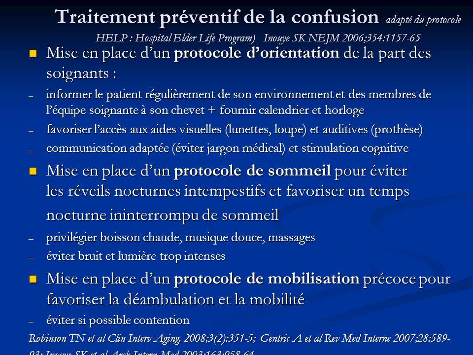 Traitement préventif de la confusion adapté du protocole HELP : Hospital Elder Life Program) Inouye SK NEJM 2006;354:1157-65 Mise en place dun protoco