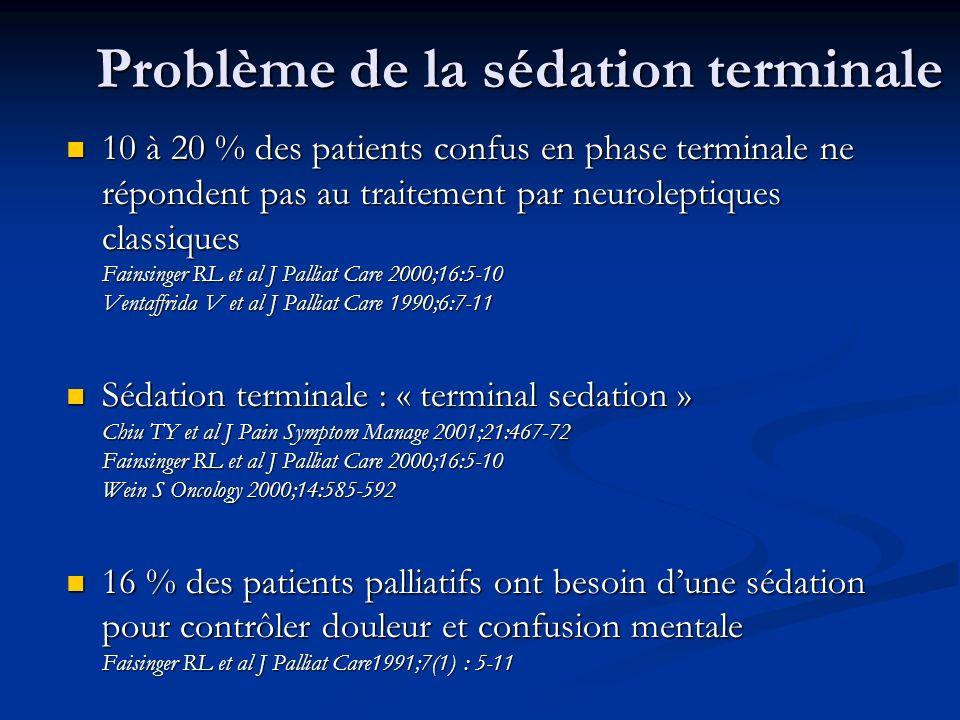 Problème de la sédation terminale 10 à 20 % des patients confus en phase terminale ne répondent pas au traitement par neuroleptiques classiques Fainsi