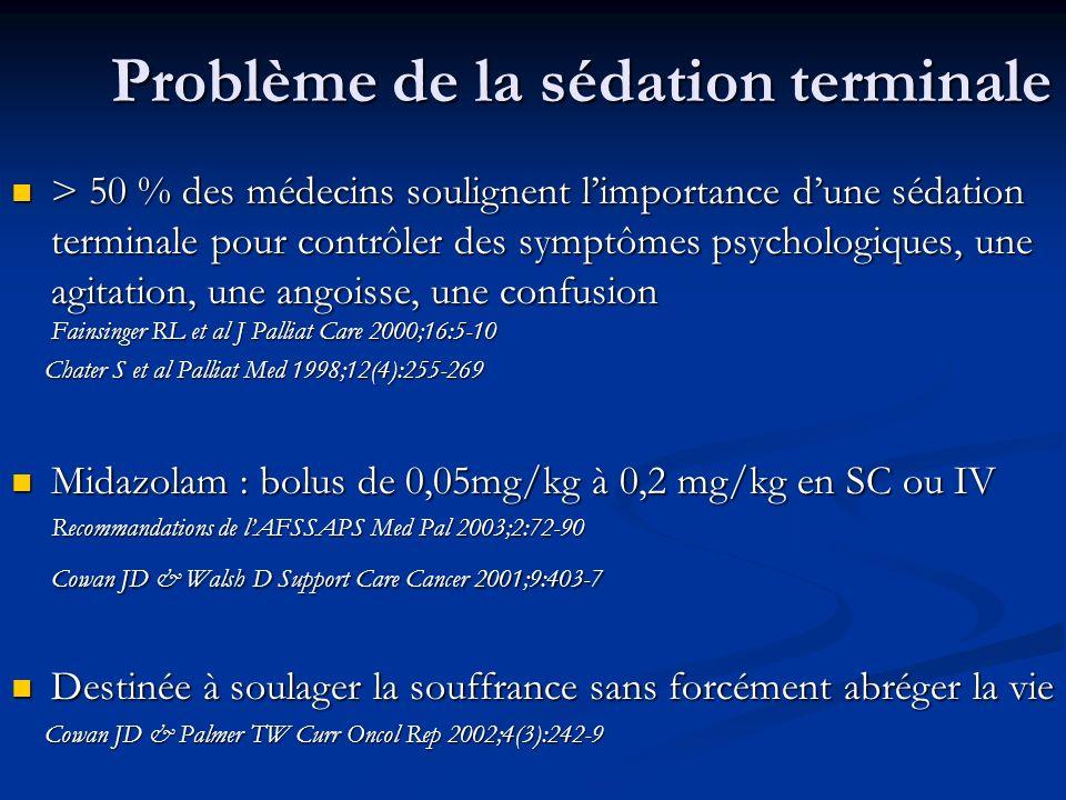 Problème de la sédation terminale > 50 % des médecins soulignent limportance dune sédation terminale pour contrôler des symptômes psychologiques, une