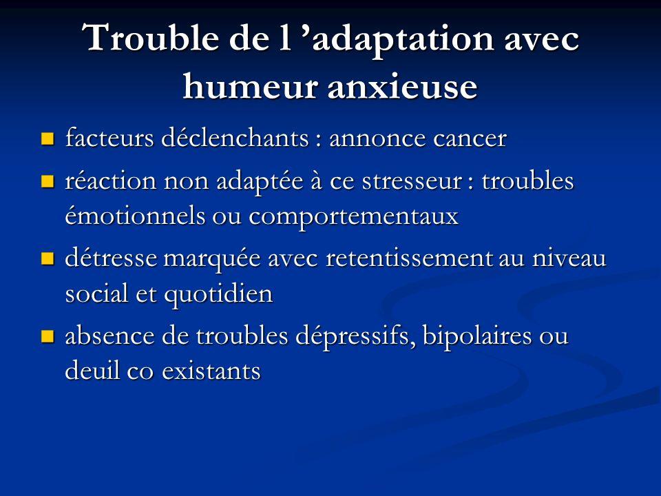 Trouble de l adaptation avec humeur anxieuse facteurs déclenchants : annonce cancer facteurs déclenchants : annonce cancer réaction non adaptée à ce s