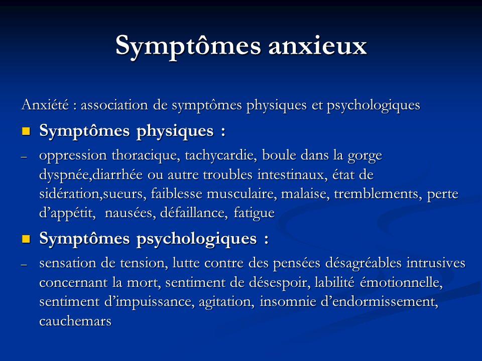 Symptômes anxieux Anxiété : association de symptômes physiques et psychologiques Symptômes physiques : Symptômes physiques : – oppression thoracique, tachycardie, boule dans la gorge dyspnée,diarrhée ou autre troubles intestinaux, état de sidération,sueurs, faiblesse musculaire, malaise, tremblements, perte dappétit, nausées, défaillance, fatigue Symptômes psychologiques : Symptômes psychologiques : – sensation de tension, lutte contre des pensées désagréables intrusives concernant la mort, sentiment de désespoir, labilité émotionnelle, sentiment dimpuissance, agitation, insomnie dendormissement, cauchemars