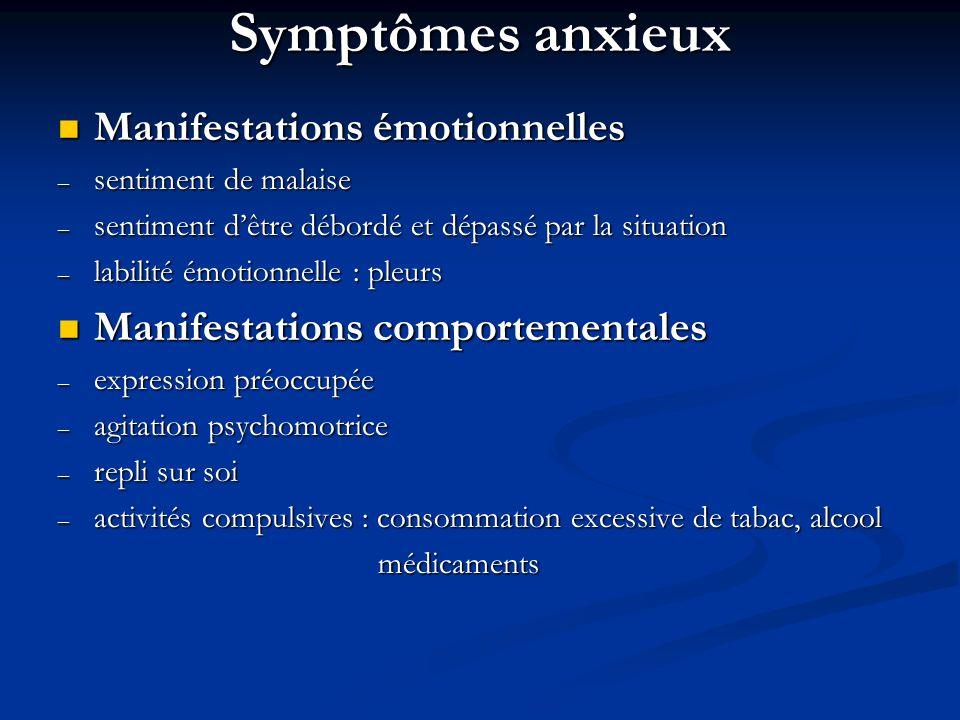 Symptômes anxieux Manifestations émotionnelles Manifestations émotionnelles – sentiment de malaise – sentiment dêtre débordé et dépassé par la situati