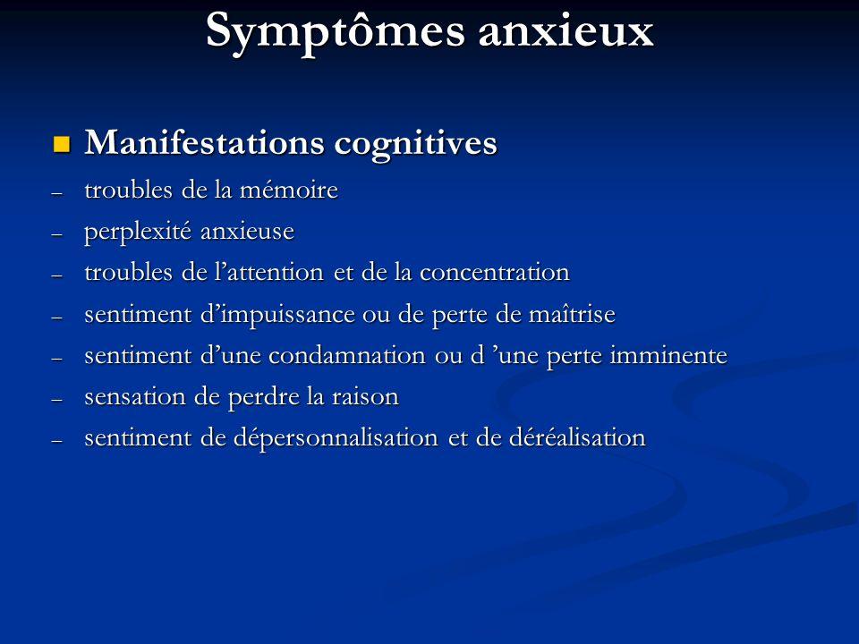 Symptômes anxieux Manifestations cognitives Manifestations cognitives – troubles de la mémoire – perplexité anxieuse – troubles de lattention et de la