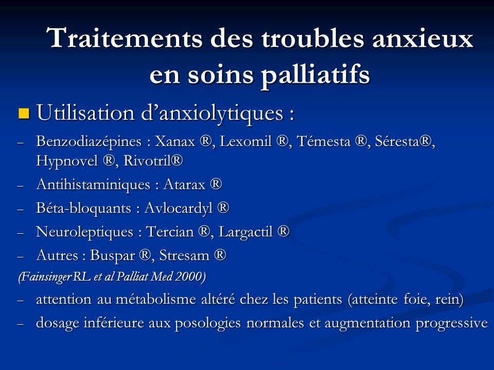 Traitements des troubles anxieux en soins palliatifs Utilisation danxiolytiques : Utilisation danxiolytiques : – Benzodiazépines : Xanax ®, Lexomil ®,