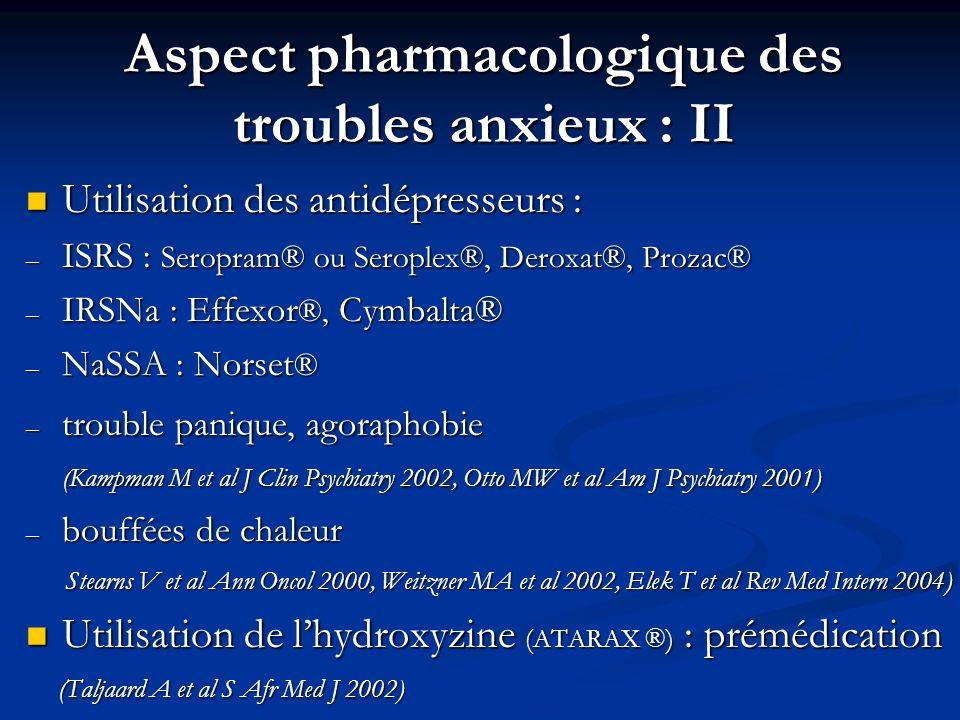 Aspect pharmacologique des troubles anxieux : II Utilisation des antidépresseurs : Utilisation des antidépresseurs : – ISRS : Seropram® ou Seroplex®,