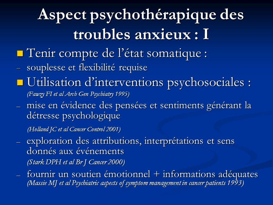 Aspect psychothérapique des troubles anxieux : I Tenir compte de létat somatique : Tenir compte de létat somatique : souplesse et flexibilité requise