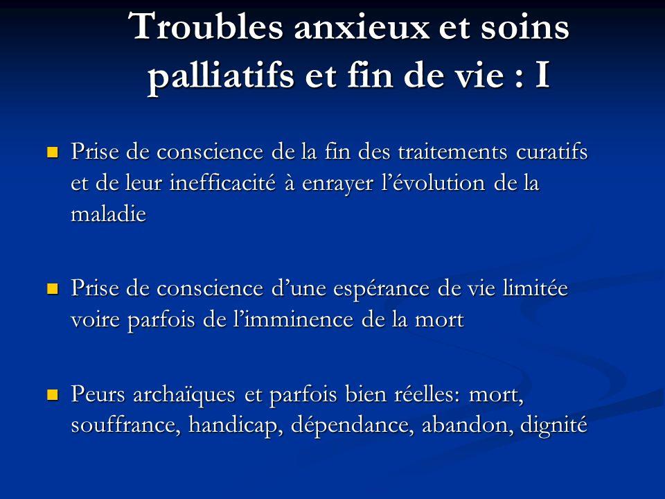Troubles anxieux et soins palliatifs et fin de vie : I Prise de conscience de la fin des traitements curatifs et de leur inefficacité à enrayer lévolu