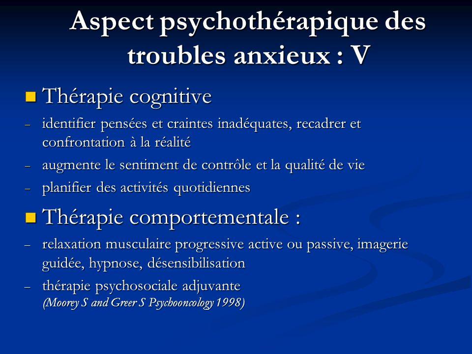 Aspect psychothérapique des troubles anxieux : V Thérapie cognitive Thérapie cognitive identifier pensées et craintes inadéquates, recadrer et confron