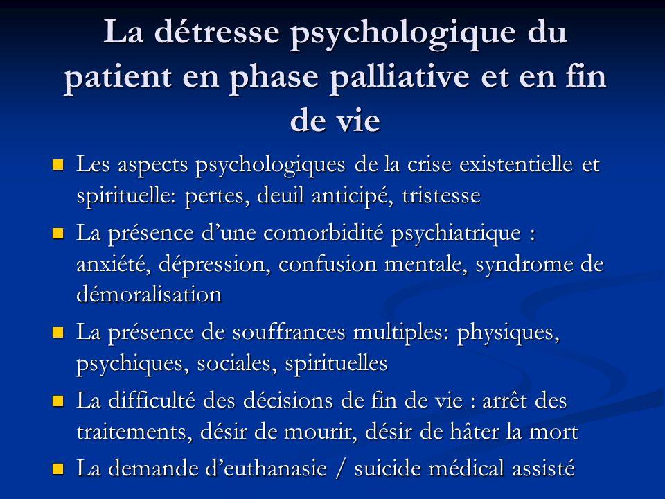 La détresse psychologique du patient en phase palliative et en fin de vie Les aspects psychologiques de la crise existentielle et spirituelle: pertes,