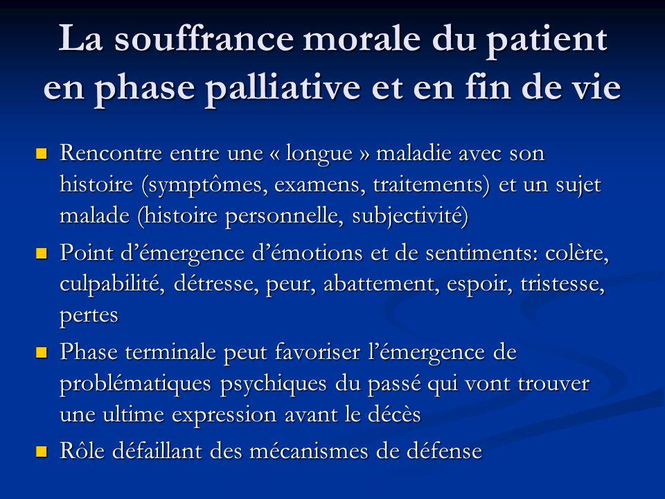 La souffrance morale du patient en phase palliative et en fin de vie Rencontre entre une « longue » maladie avec son histoire (symptômes, examens, tra