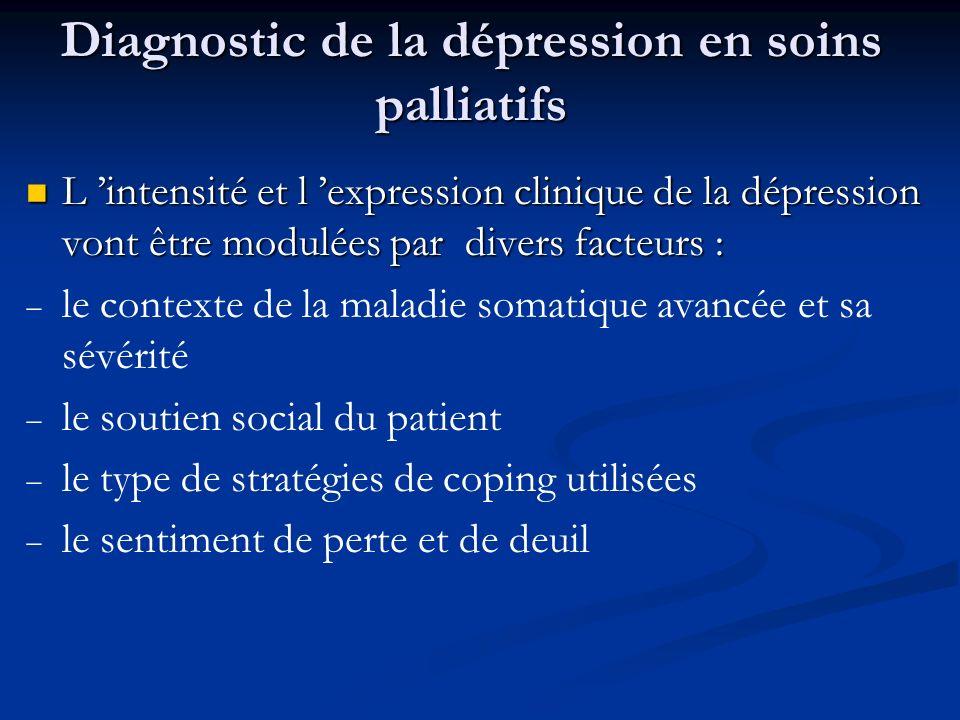 Diagnostic de la dépression en soins palliatifs L intensité et l expression clinique de la dépression vont être modulées par divers facteurs : L inten