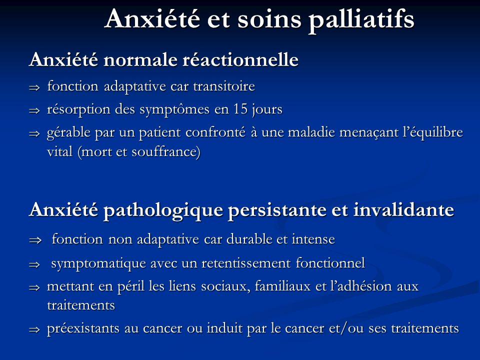 Anxiété et soins palliatifs Anxiété normale réactionnelle fonction adaptative car transitoire fonction adaptative car transitoire résorption des sympt