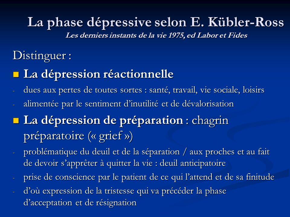 La phase dépressive selon E. Kübler-Ross Les derniers instants de la vie 1975, ed Labor et Fides Distinguer : La dépression réactionnelle La dépressio