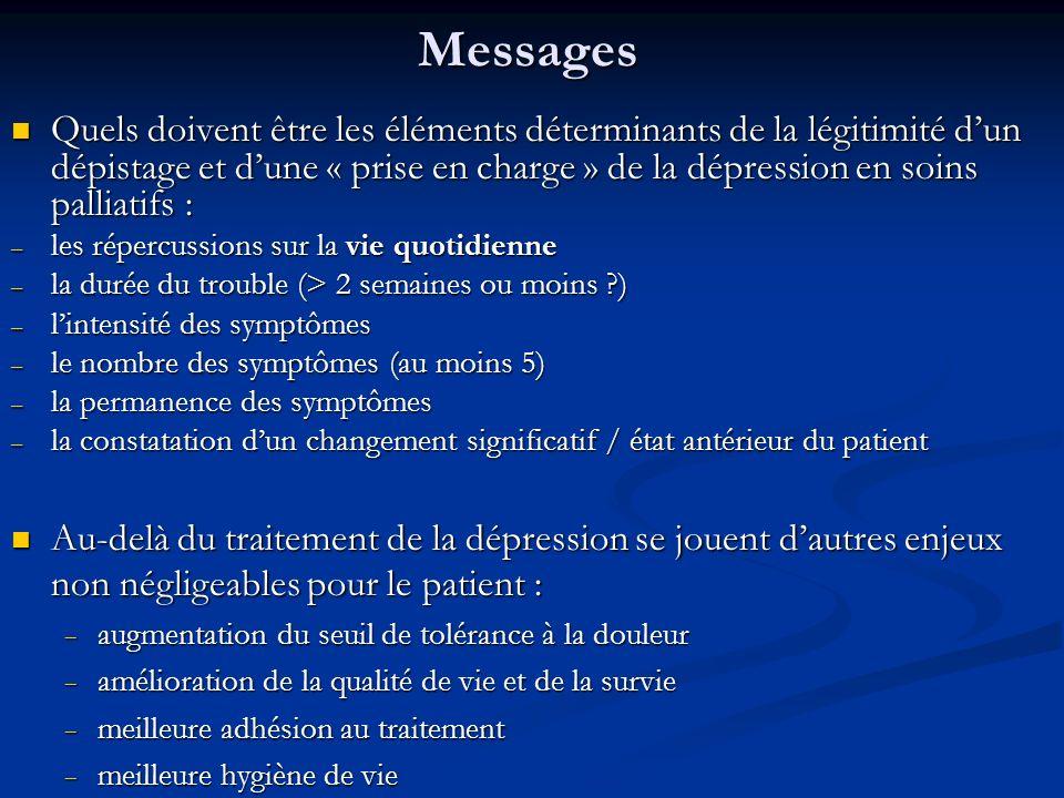Messages Quels doivent être les éléments déterminants de la légitimité dun dépistage et dune « prise en charge » de la dépression en soins palliatifs : Quels doivent être les éléments déterminants de la légitimité dun dépistage et dune « prise en charge » de la dépression en soins palliatifs : – les répercussions sur la vie quotidienne – la durée du trouble (> 2 semaines ou moins ?) – lintensité des symptômes – le nombre des symptômes (au moins 5) – la permanence des symptômes – la constatation dun changement significatif / état antérieur du patient Au-delà du traitement de la dépression se jouent dautres enjeux non négligeables pour le patient : Au-delà du traitement de la dépression se jouent dautres enjeux non négligeables pour le patient : augmentation du seuil de tolérance à la douleur augmentation du seuil de tolérance à la douleur amélioration de la qualité de vie et de la survie amélioration de la qualité de vie et de la survie meilleure adhésion au traitement meilleure adhésion au traitement meilleure hygiène de vie meilleure hygiène de vie