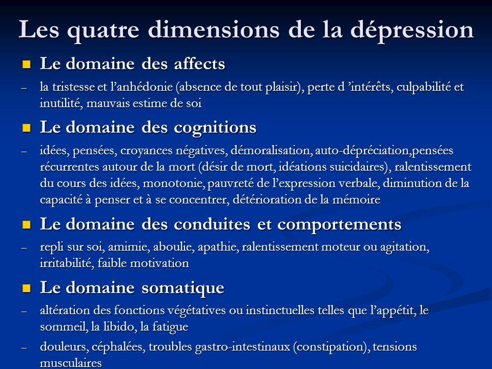 Les quatre dimensions de la dépression Le domaine des affects Le domaine des affects – la tristesse et lanhédonie (absence de tout plaisir), perte d intérêts, culpabilité et inutilité, mauvais estime de soi Le domaine des cognitions Le domaine des cognitions – idées, pensées, croyances négatives, démoralisation, auto-dépréciation,pensées récurrentes autour de la mort (désir de mort, idéations suicidaires), ralentissement du cours des idées, monotonie, pauvreté de lexpression verbale, diminution de la capacité à penser et à se concentrer, détérioration de la mémoire Le domaine des conduites et comportements Le domaine des conduites et comportements – repli sur soi, amimie, aboulie, apathie, ralentissement moteur ou agitation, irritabilité, faible motivation Le domaine somatique Le domaine somatique – altération des fonctions végétatives ou instinctuelles telles que lappétit, le sommeil, la libido, la fatigue – douleurs, céphalées, troubles gastro-intestinaux (constipation), tensions musculaires