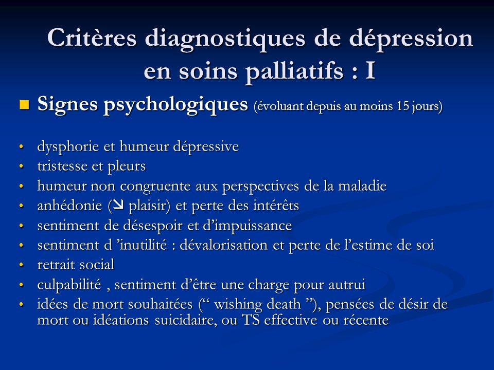 Critères diagnostiques de dépression en soins palliatifs : I Signes psychologiques (évoluant depuis au moins 15 jours) Signes psychologiques (évoluant depuis au moins 15 jours) dysphorie et humeur dépressive dysphorie et humeur dépressive tristesse et pleurs tristesse et pleurs humeur non congruente aux perspectives de la maladie humeur non congruente aux perspectives de la maladie anhédonie ( plaisir) et perte des intérêts anhédonie ( plaisir) et perte des intérêts sentiment de désespoir et dimpuissance sentiment de désespoir et dimpuissance sentiment d inutilité : dévalorisation et perte de lestime de soi sentiment d inutilité : dévalorisation et perte de lestime de soi retrait social retrait social culpabilité, sentiment dêtre une charge pour autrui culpabilité, sentiment dêtre une charge pour autrui idées de mort souhaitées ( wishing death ), pensées de désir de mort ou idéations suicidaire, ou TS effective ou récente idées de mort souhaitées ( wishing death ), pensées de désir de mort ou idéations suicidaire, ou TS effective ou récente