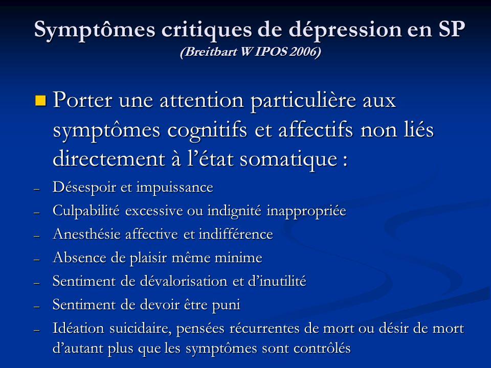 Symptômes critiques de dépression en SP (Breitbart W IPOS 2006) Porter une attention particulière aux symptômes cognitifs et affectifs non liés direct