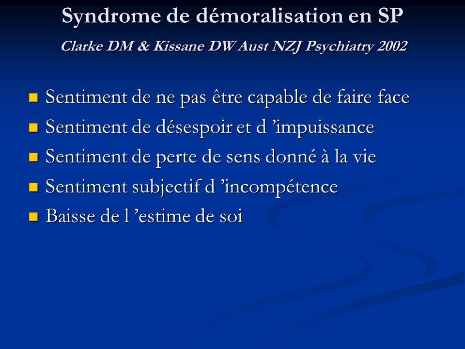 Syndrome de démoralisation en SP Clarke DM & Kissane DW Aust NZJ Psychiatry 2002 Sentiment de ne pas être capable de faire face Sentiment de ne pas êt