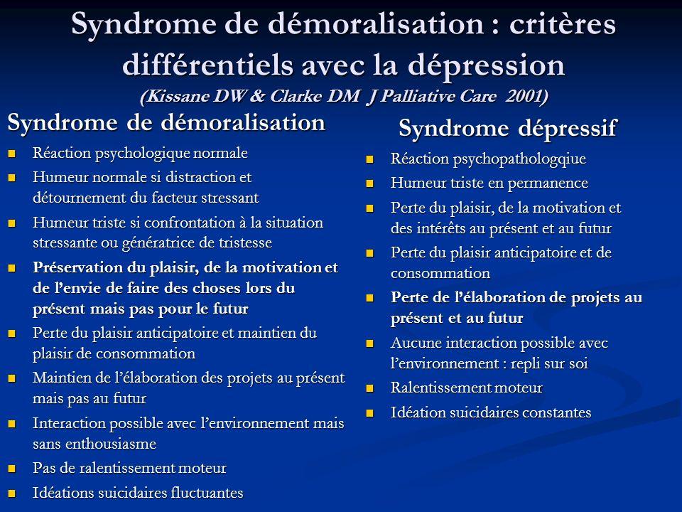 Syndrome de démoralisation : critères différentiels avec la dépression (Kissane DW & Clarke DM J Palliative Care 2001) Syndrome de démoralisation Réac