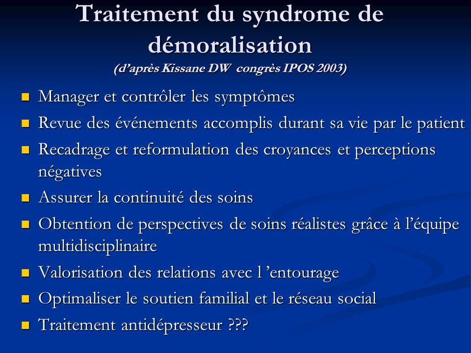 Traitement du syndrome de démoralisation (daprès Kissane DW congrès IPOS 2003) Manager et contrôler les symptômes Manager et contrôler les symptômes R