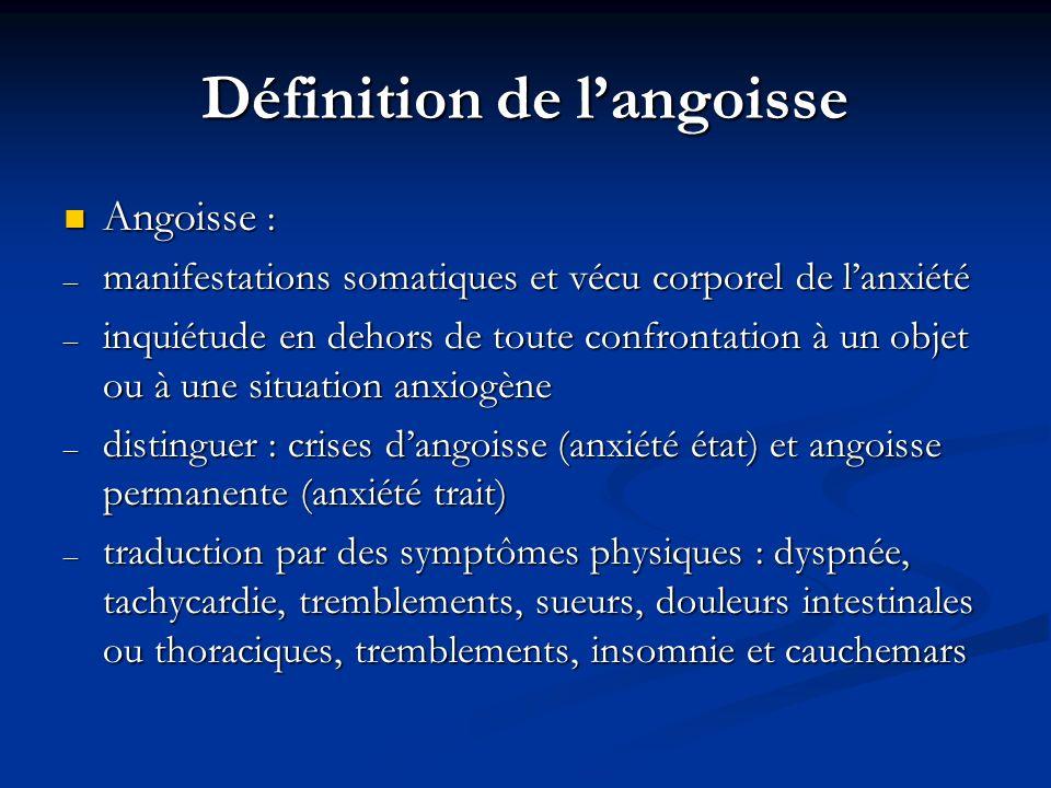 Définition de langoisse Angoisse : Angoisse : – manifestations somatiques et vécu corporel de lanxiété – inquiétude en dehors de toute confrontation à