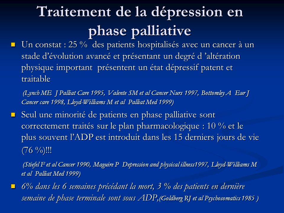 Traitement de la dépression en phase palliative Un constat : 25 % des patients hospitalisés avec un cancer à un stade dévolution avancé et présentant