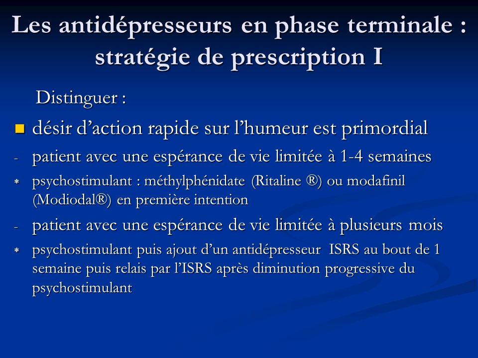 Les antidépresseurs en phase terminale : stratégie de prescription I Distinguer : Distinguer : désir daction rapide sur lhumeur est primordial désir d