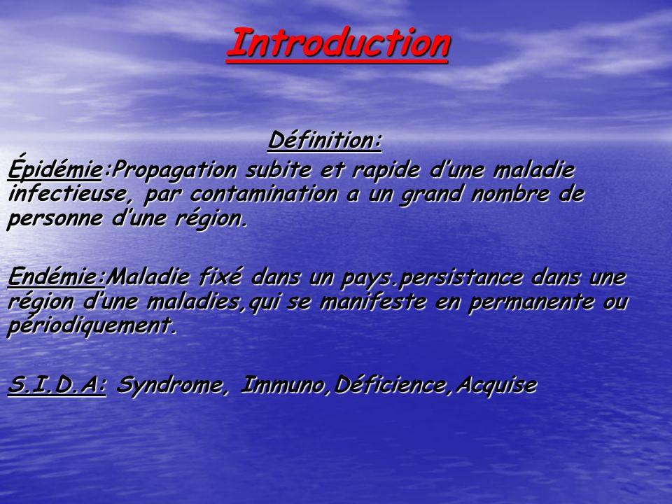 Introduction Définition: Épidémie:Propagation subite et rapide dune maladie infectieuse, par contamination a un grand nombre de personne dune région.