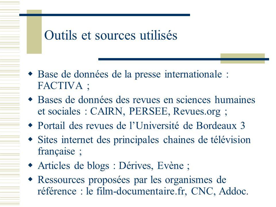 Outils et sources utilisés Base de données de la presse internationale : FACTIVA ; Bases de données des revues en sciences humaines et sociales : CAIR
