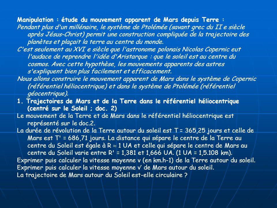 Manipulation : étude du mouvement apparent de Mars depuis Terre : Pendant plus d'un millénaire, le système de Ptolémée (savant grec du II e siècle apr