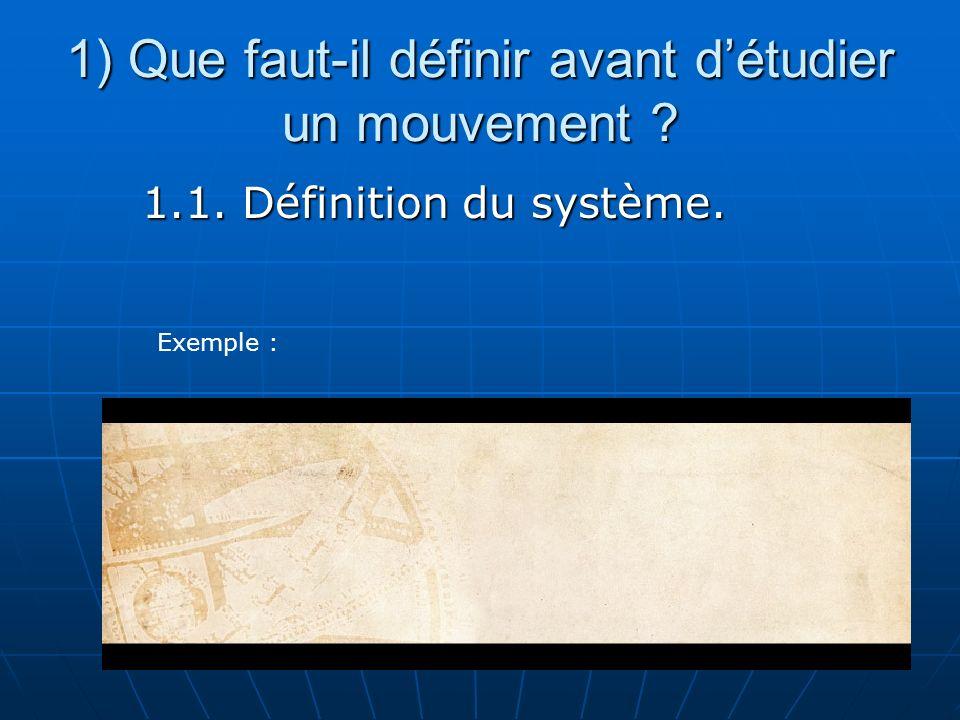 1) Que faut-il définir avant détudier un mouvement ? 1.1. Définition du système. Exemple :