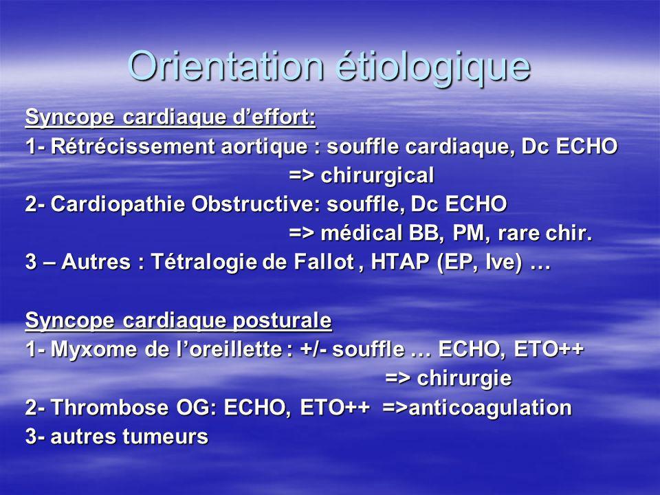 Orientation étiologique Syncope cardiaque deffort: 1- Rétrécissement aortique : souffle cardiaque, Dc ECHO => chirurgical 2- Cardiopathie Obstructive: