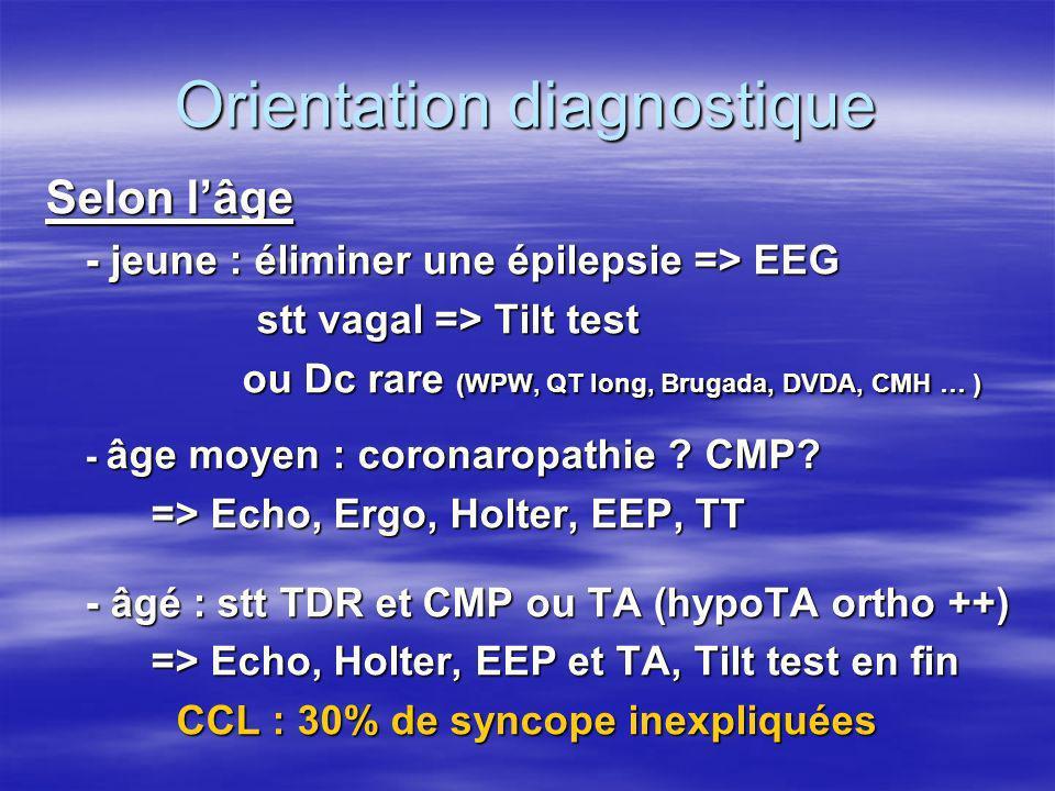 Orientation diagnostique Selon lâge - jeune : éliminer une épilepsie => EEG stt vagal => Tilt test ou Dc rare (WPW, QT long, Brugada, DVDA, CMH … ) ou