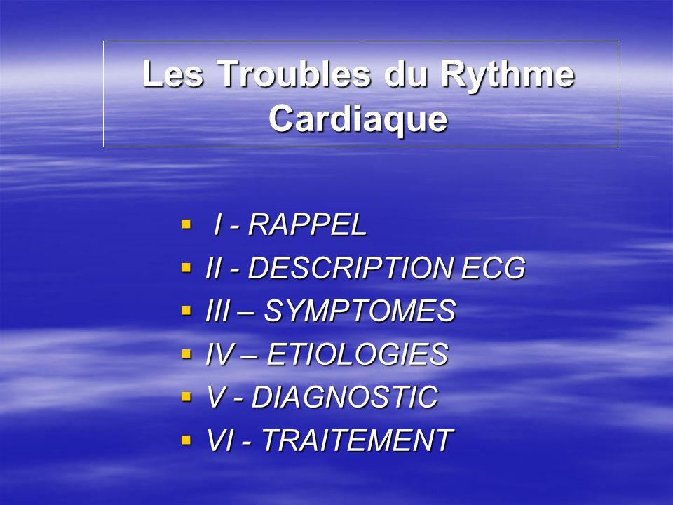 Les Troubles du Rythme Cardiaque I - RAPPEL I - RAPPEL II - DESCRIPTION ECG II - DESCRIPTION ECG III – SYMPTOMES III – SYMPTOMES IV – ETIOLOGIES IV –