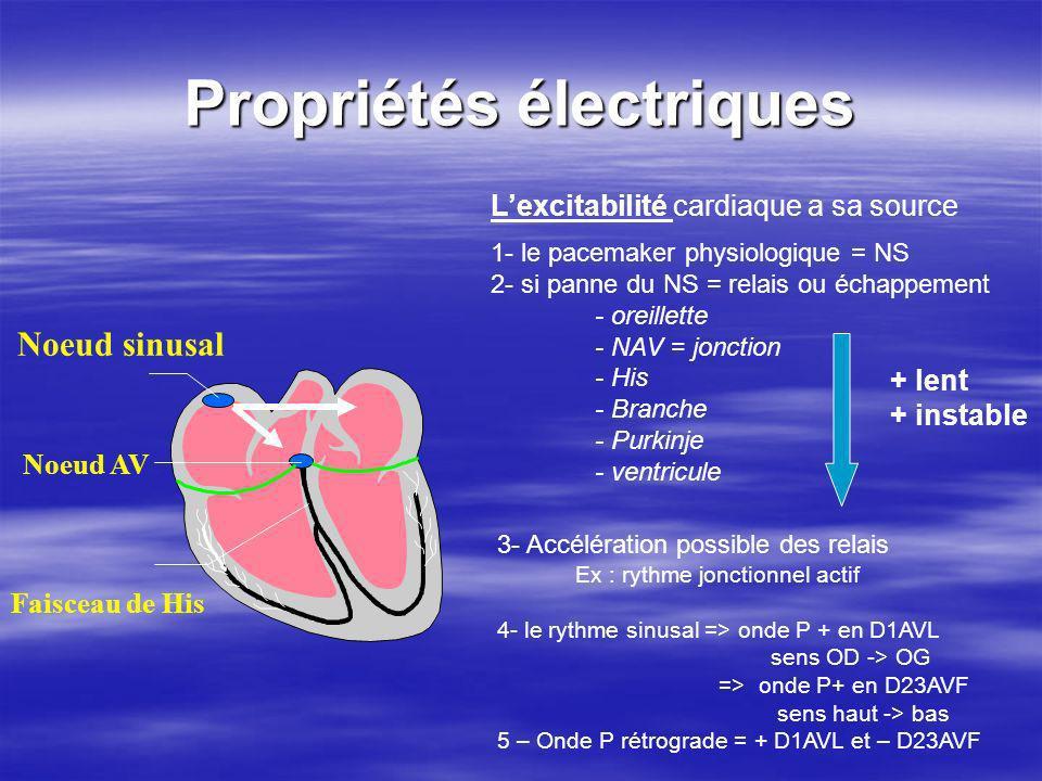 Propriétés électriques Noeud sinusal Faisceau de His Noeud AV Lexcitabilité cardiaque a sa source 1- le pacemaker physiologique = NS 2- si panne du NS