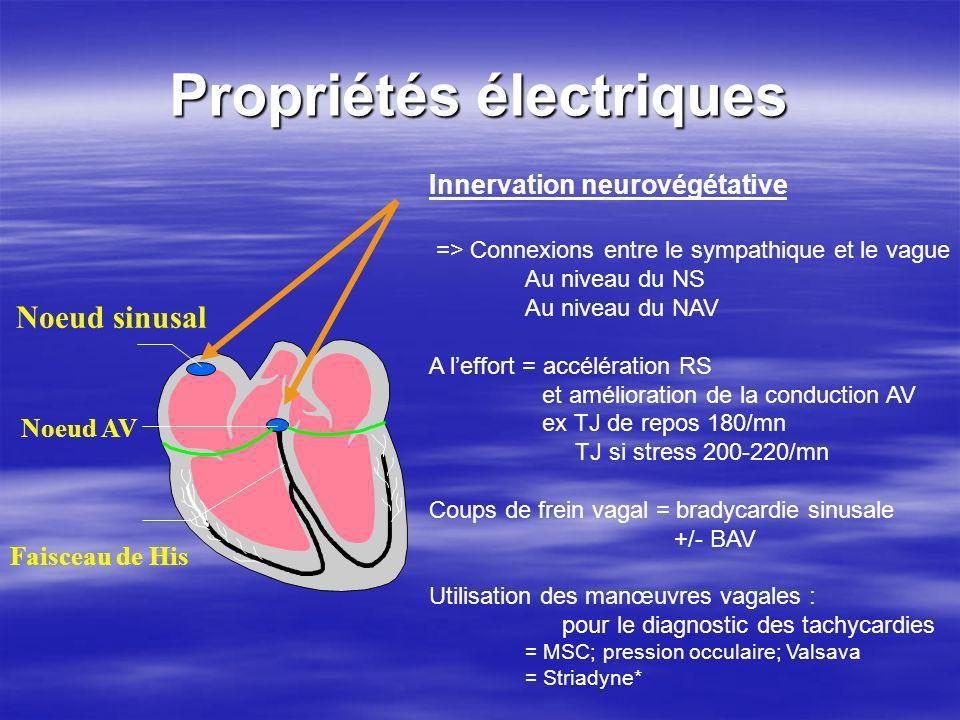 Propriétés électriques Noeud sinusal Faisceau de His Noeud AV Innervation neurovégétative => Connexions entre le sympathique et le vague Au niveau du