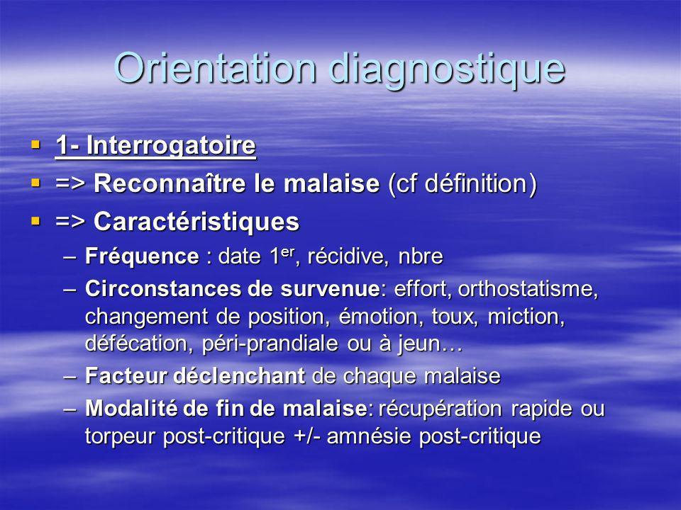 Orientation diagnostique 1- Interrogatoire 1- Interrogatoire => Reconnaître le malaise (cf définition) => Reconnaître le malaise (cf définition) => Ca