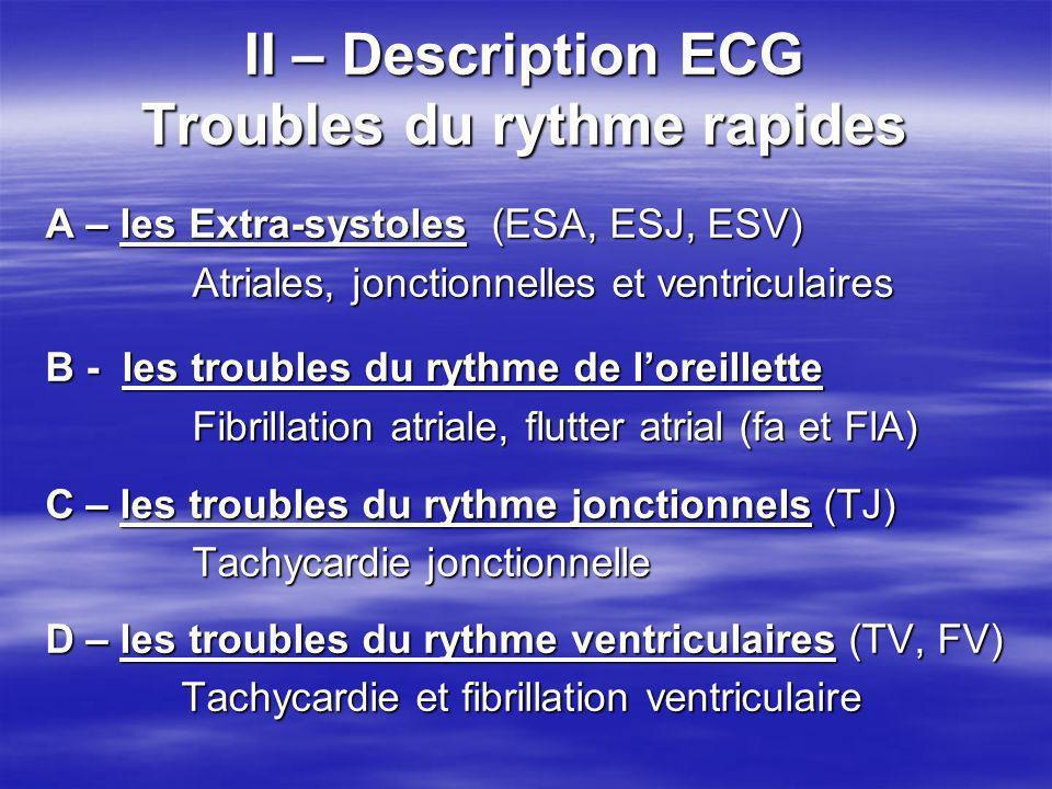 II – Description ECG Troubles du rythme rapides A – les Extra-systoles (ESA, ESJ, ESV) Atriales, jonctionnelles et ventriculaires Atriales, jonctionne