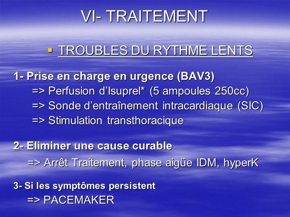 VI- TRAITEMENT TROUBLES DU RYTHME LENTS TROUBLES DU RYTHME LENTS 1- Prise en charge en urgence (BAV3) => Perfusion dIsuprel* (5 ampoules 250cc) => Per