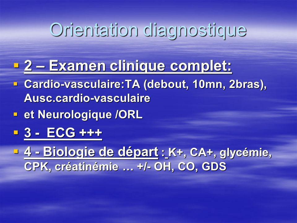 Orientation diagnostique 4 – Synthèse a – Anomalie ECG per-critique = Dc a – Anomalie ECG per-critique = Dc b – Résolution sans Dc ECG per-critique b – Résolution sans Dc ECG per-critique voir âge / TA / aN ECG / ECHO Cardio +++/ Bio et selon contexte SI SYNCOPE : poursuivre vers Holter, ECG HA, EEP, Ergo, Tilt test … Discuter : EchoDoppler Vx Cou, EEG, TDM