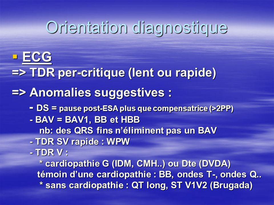 Orientation diagnostique Selon lâge - jeune : éliminer une épilepsie => EEG stt vagal => Tilt test ou Dc rare (WPW, QT long, Brugada, DVDA, CMH … ) ou Dc rare (WPW, QT long, Brugada, DVDA, CMH … ) - âge moyen : coronaropathie .