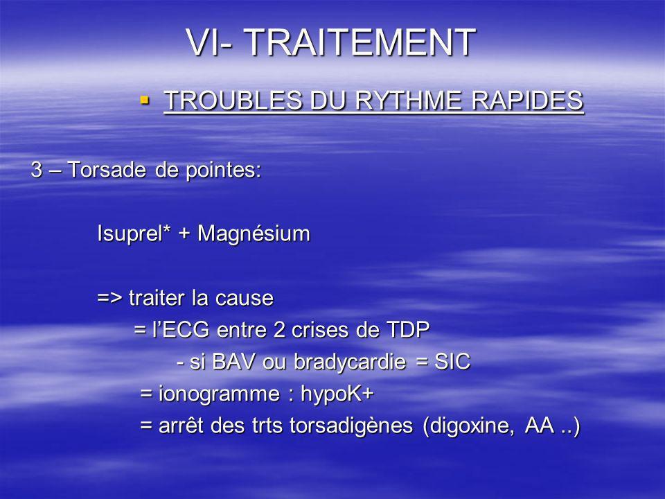 VI- TRAITEMENT TROUBLES DU RYTHME RAPIDES TROUBLES DU RYTHME RAPIDES 3 – Torsade de pointes: Isuprel* + Magnésium => traiter la cause = lECG entre 2 c