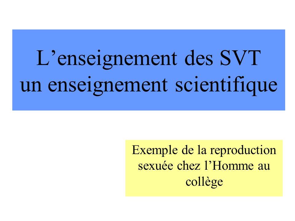 Lenseignement des SVT un enseignement scientifique Exemple de la reproduction sexuée chez lHomme au collège