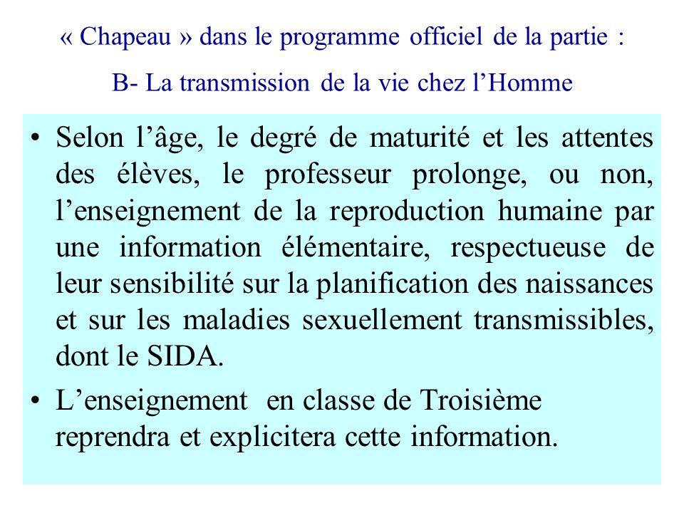 « Chapeau » dans le programme officiel de la partie : B- La transmission de la vie chez lHomme Selon lâge, le degré de maturité et les attentes des él