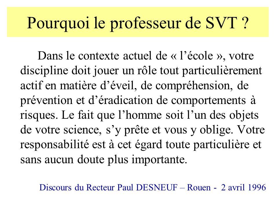 Pourquoi le professeur de SVT ? Dans le contexte actuel de « lécole », votre discipline doit jouer un rôle tout particulièrement actif en matière déve