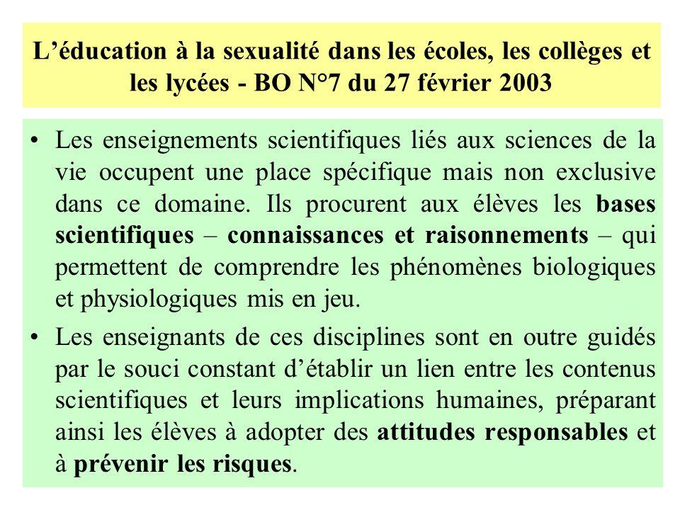 Léducation à la sexualité dans les écoles, les collèges et les lycées - BO N°7 du 27 février 2003 Les enseignements scientifiques liés aux sciences de