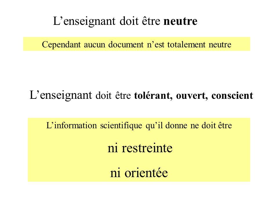 Linformation scientifique quil donne ne doit être ni restreinte ni orientée Lenseignant doit être neutre Cependant aucun document nest totalement neut