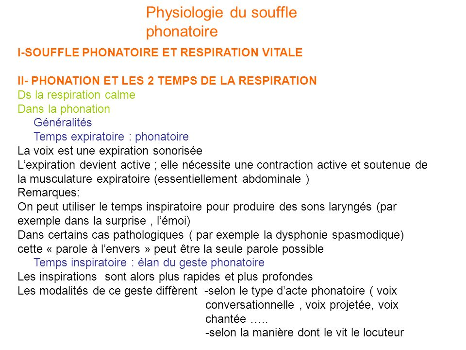 Physiologie du souffle phonatoire I-SOUFFLE PHONATOIRE ET RESPIRATION VITALE II- PHONATION ET LES 2 TEMPS DE LA RESPIRATION Ds la respiration calme Da