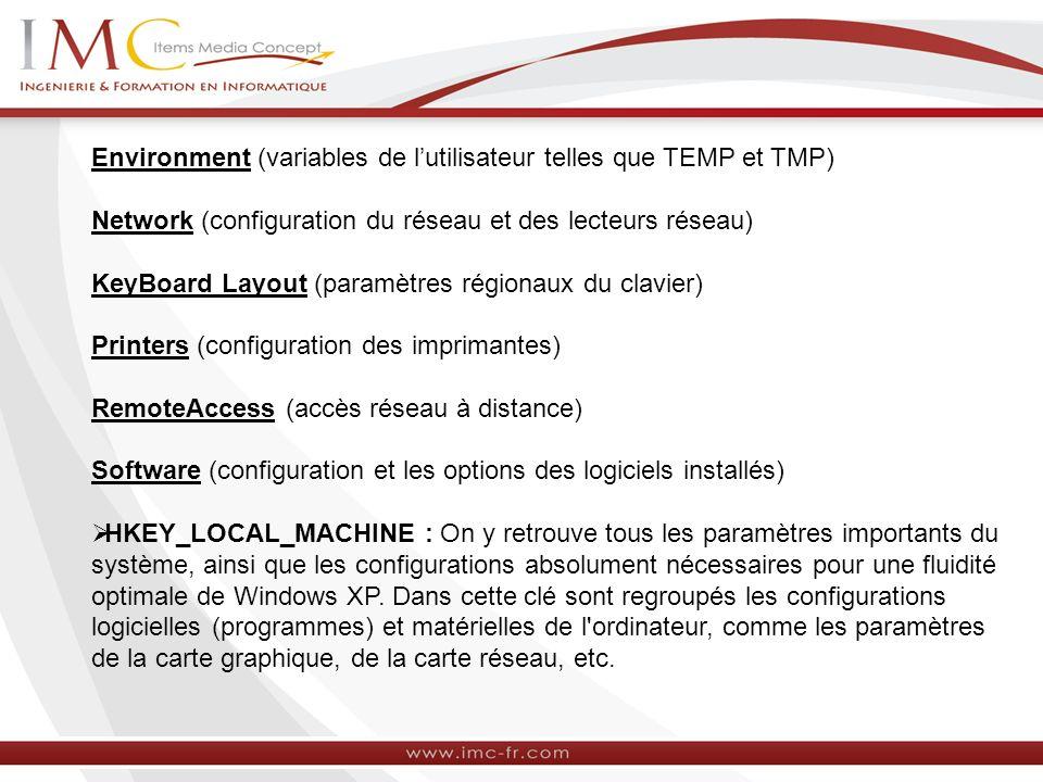 Environment (variables de lutilisateur telles que TEMP et TMP) Network (configuration du réseau et des lecteurs réseau) KeyBoard Layout (paramètres régionaux du clavier) Printers (configuration des imprimantes) RemoteAccess (accès réseau à distance) Software (configuration et les options des logiciels installés) HKEY_LOCAL_MACHINE : On y retrouve tous les paramètres importants du système, ainsi que les configurations absolument nécessaires pour une fluidité optimale de Windows XP.